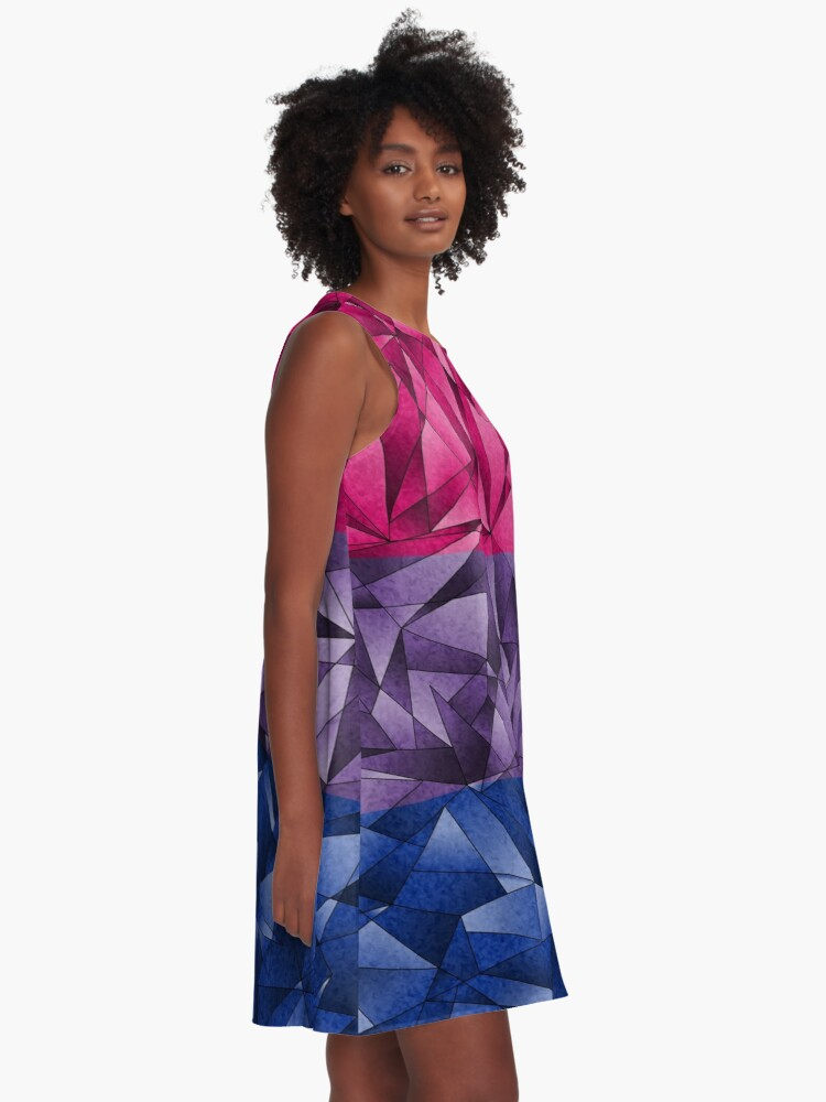 Alternate view of Abstract Bisexual Flag A-Line Dress