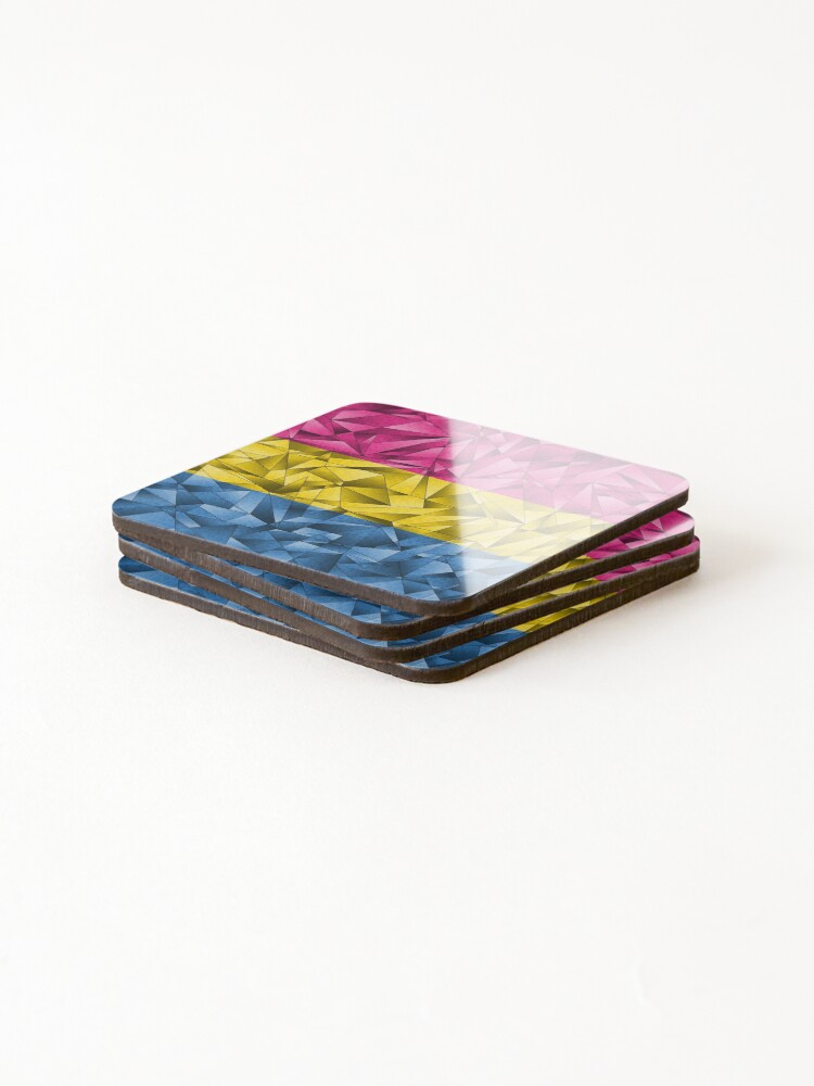Alternate view of Abstract Pansexual Flag Coasters (Set of 4)