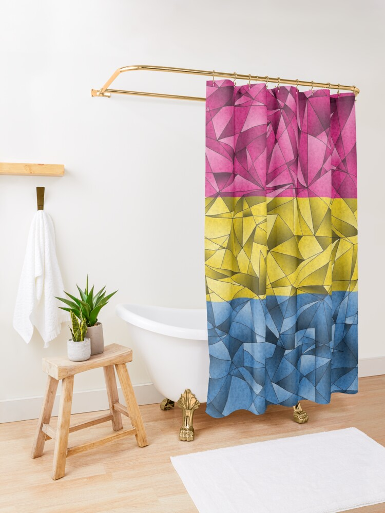 Alternate view of Abstract Pansexual Flag Shower Curtain
