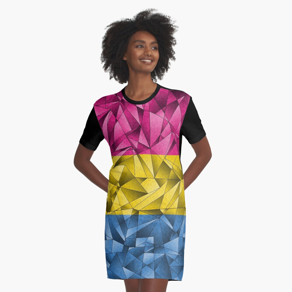 Abstract Pansexual Flag Graphic T-Shirt Dress