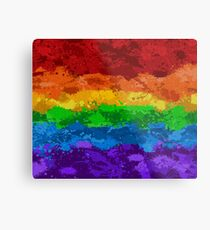 Rainbow Paint Splatter Flag Metal Print