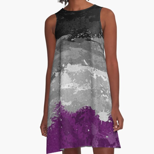 Asexual Paint Splatter Flag A-Line Dress