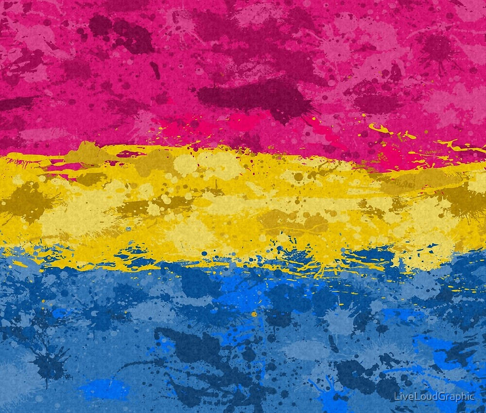 Pansexual Paint Splatter Flag by LiveLoudGraphic