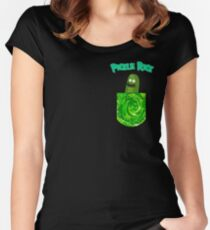 Pickle Rick Pocket Portal Women's Fitted Scoop T-Shirt