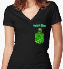 Pickle Rick Pocket Portal Women's Fitted V-Neck T-Shirt