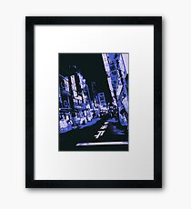 Abstract Blue Japan Streets Framed Print