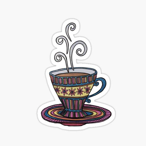 Glitter Coffee Time on Black Sticker