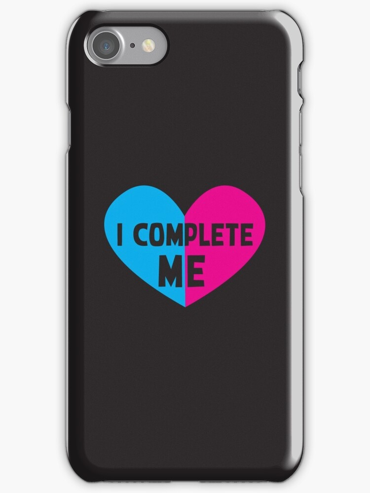 I COMPLETE ME! with half heart pink and blue by jazzydevil