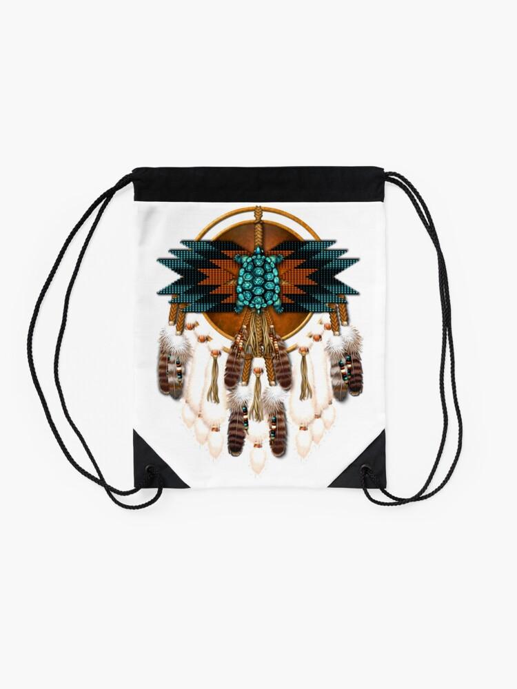 Alternate view of Turquoise Turtle Mandala Drawstring Bag
