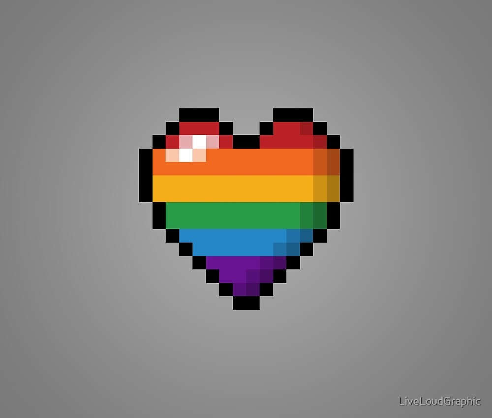 Rainbow Pixel Heart by LiveLoudGraphic