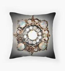 jewelled diamond pearl brooch decadent allure Throw Pillow