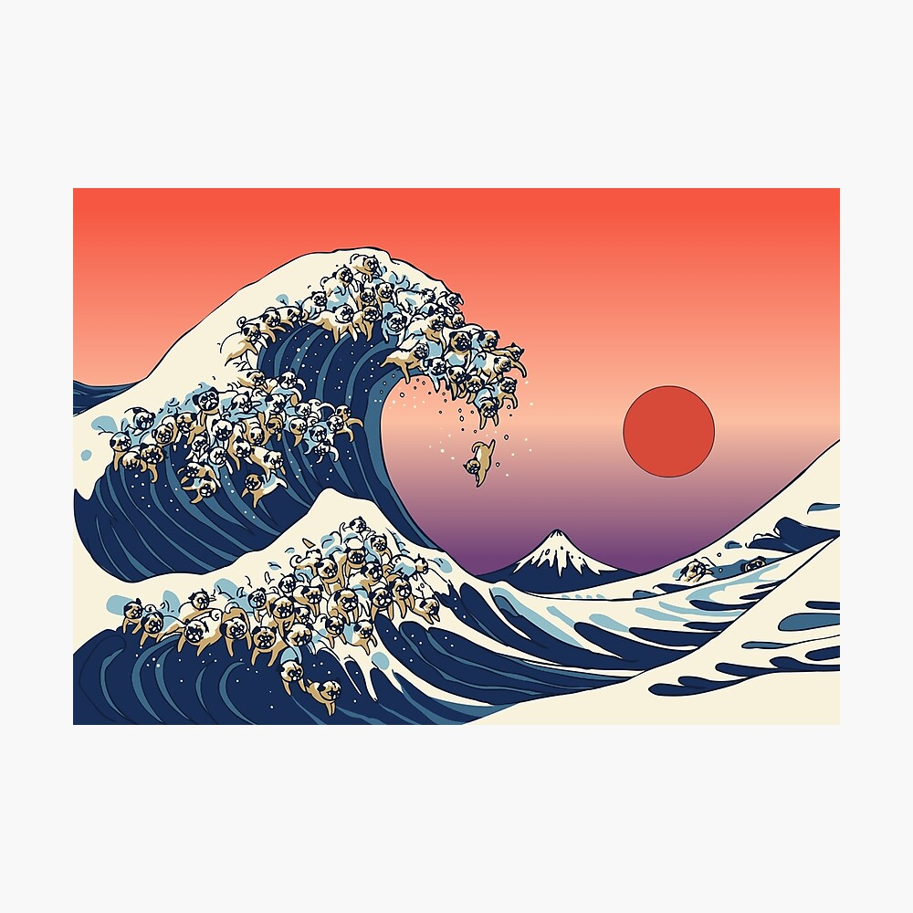 The Great Wave of Pug Photographic Print