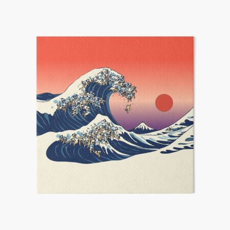 The Great Wave of Pug Art Board Print
