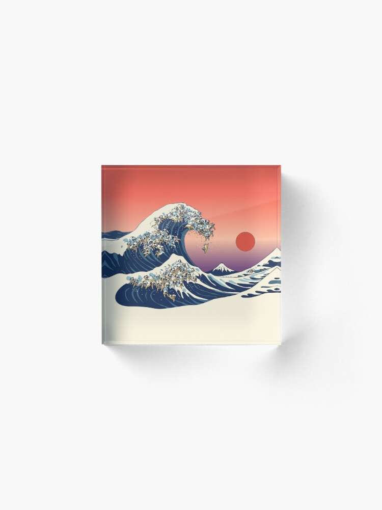Alternate view of The Great Wave of Pug Acrylic Block