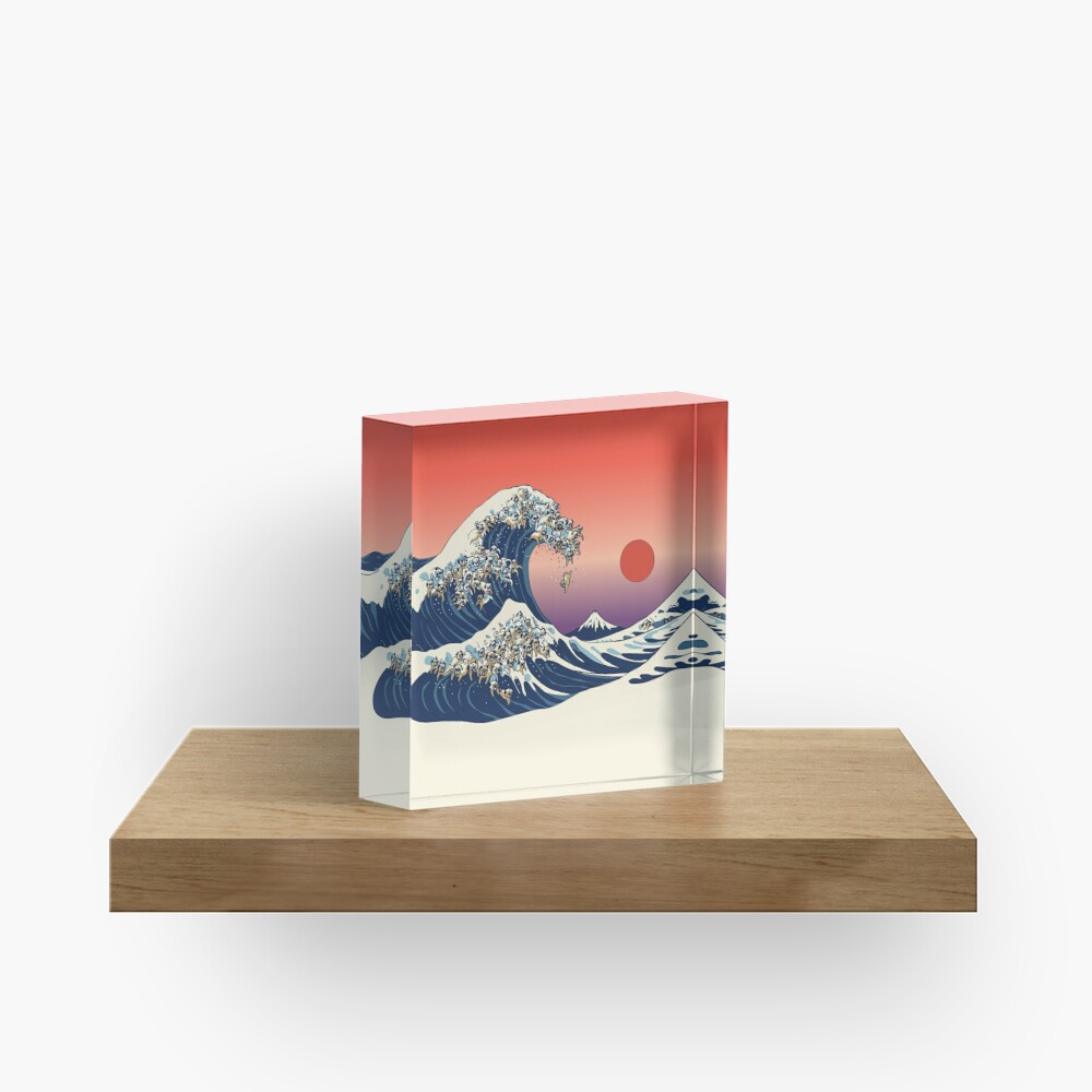 The Great Wave of Pug Acrylic Block