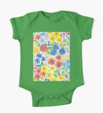 Doodle floral garden in watercolor One Piece - Short Sleeve