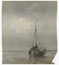 Jacob Maris - Bluff-Bowed Fishing Boat On The Beach At Scheveningen, 1885 Poster