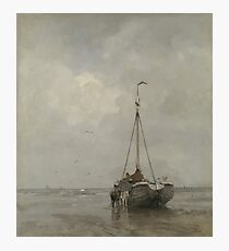Jacob Maris - Bluff-Bowed Fishing Boat On The Beach At Scheveningen, 1885 Photographic Print