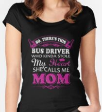 Bus Driver Shirt Gift For Mom Hoodie on Mother's Day Women's Fitted Scoop T-Shirt