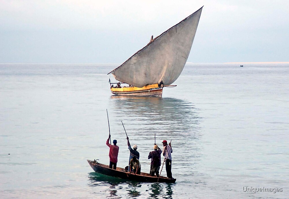 Dhow & Fishermen by UniqueImages