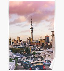Auckland City Skytower from Ponsonby Poster