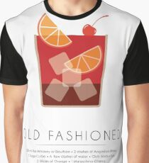 Old Fashioned Classic Cocktail -  Minimalist Print Graphic T-Shirt