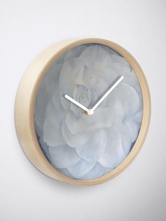 Alternate view of White Camelia Clock