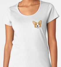 Corgi In Pocket Funny Cute Puppy Big Happy Smile Women's Premium T-Shirt