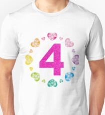 4th Birthday For Girls Shiny Hearts Princess Four Unisex T-Shirt