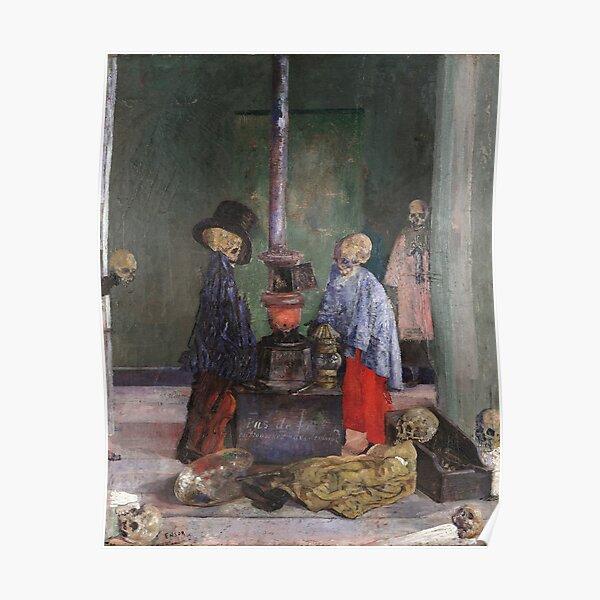 James Ensor - Skeletons Warming Themselves Poster