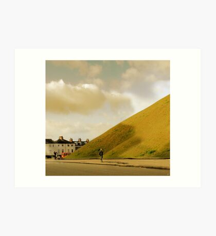 Mother with pram photographing hill in York, UK Art Print