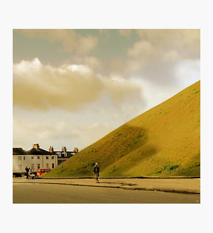 Mother with pram photographing hill in York, UK Photographic Print