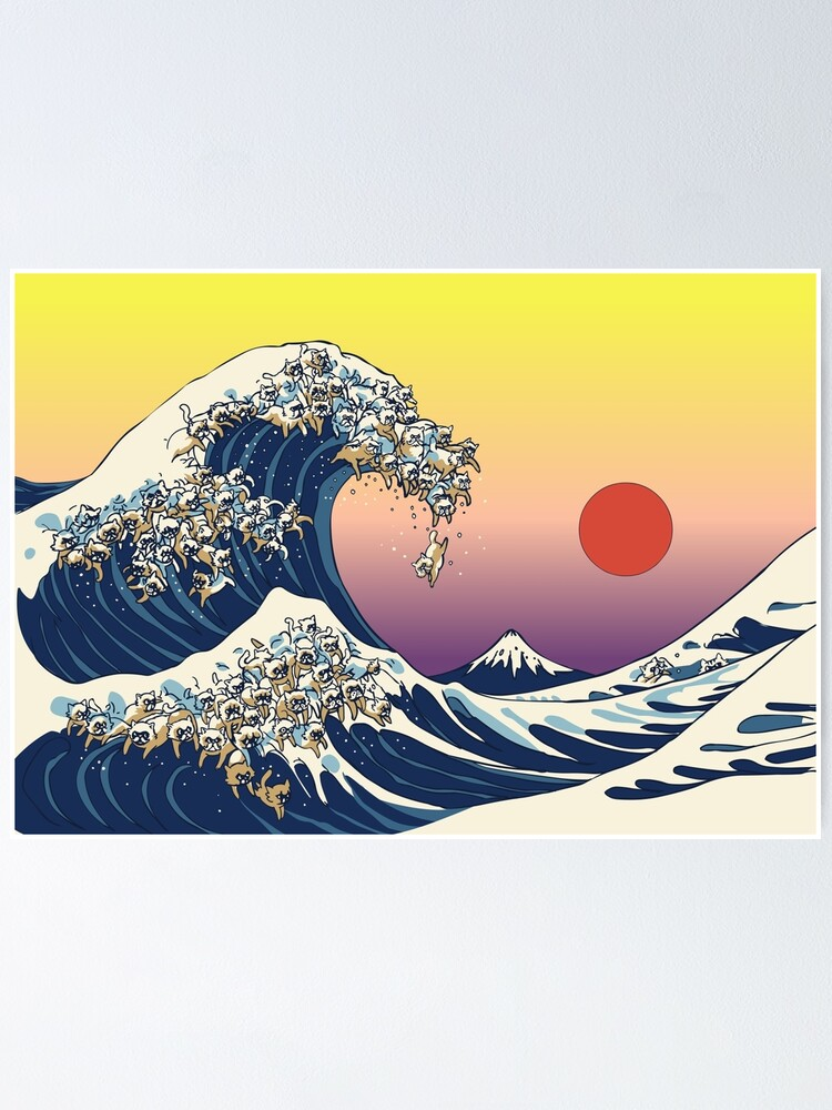 Alternate view of The Great Wave of Cat Poster