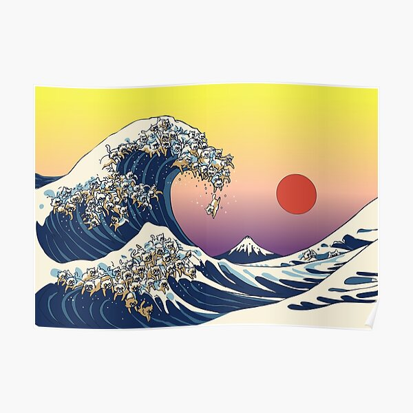 The Great Wave of Cat Poster