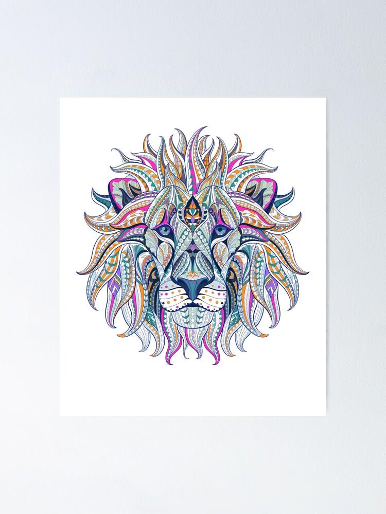 Lion Lion King Mandala Drawing Pattern India Yoga Meditation Calm Playful Poster By Originalstar Redbubble