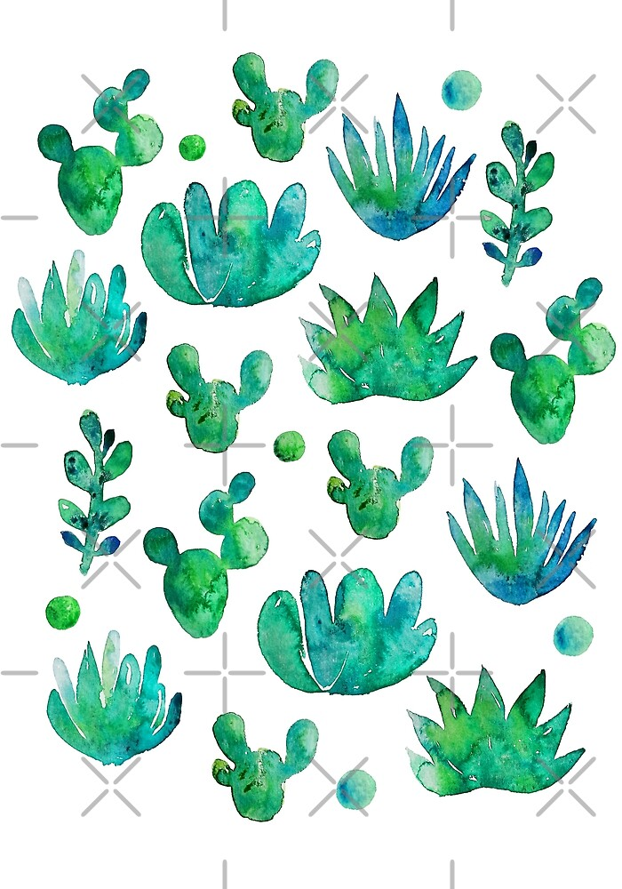 Watercolor Succulents by Anna Alekseeva