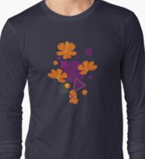Orange cosmos flowers with geometric shapes Long Sleeve T-Shirt