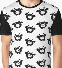 Flying Pig Black B&W Graphic T-Shirt