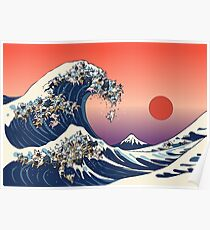 The Great Wave of French Bulldog Poster