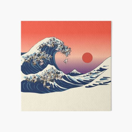 The Great Wave of French Bulldog Art Board Print