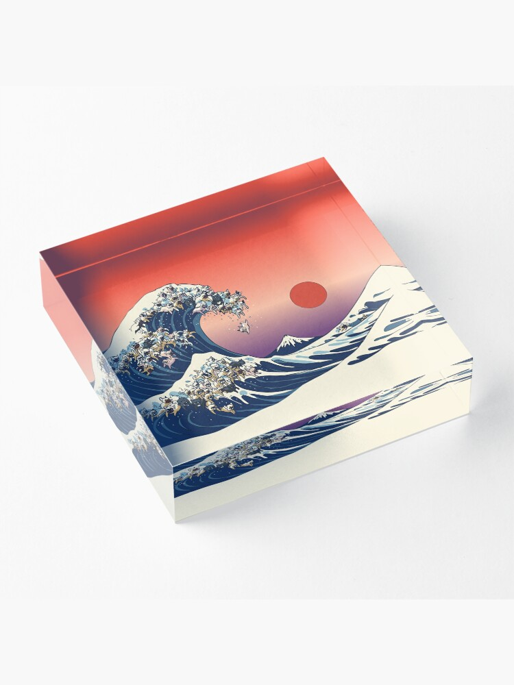 Alternate view of The Great Wave of French Bulldog Acrylic Block
