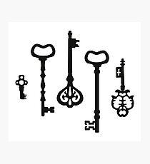 Victorian black & white Keys Photographic Print