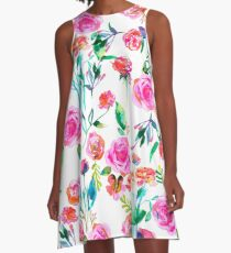Roses bouquet watercolor pattern A-Line Dress