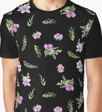 Seamless watercolor small flowers pattern on black Graphic T-Shirt