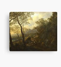 Jan Both - A Rocky Italian Landscape With Herdsmen And Muleteers Canvas Print