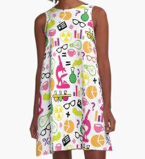 Verrücktes Neon-Wissenschaftler-Muster A-Linien Kleid