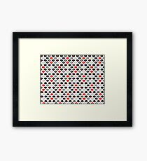 Red and Black Lips Pattern Framed Print