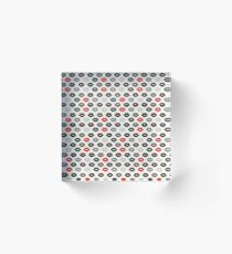 Red and Black Lips Pattern Acrylic Block