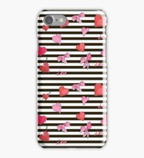 Valentines Day seamless pattern with watercolor hearts on striped background iPhone Case/Skin