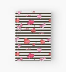 Valentines Day seamless pattern with watercolor hearts on striped background Hardcover Journal